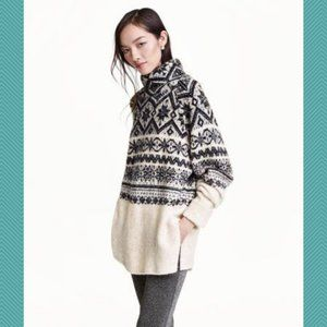 H&M Nordic Fair Isle Snowflake Mock Neck Sweater
